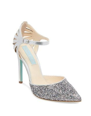 Avery Shimmering Ankle Strap Pumps by Betsey Johnson