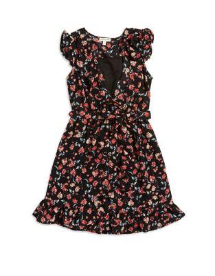 Girls Floral Wrap Dress