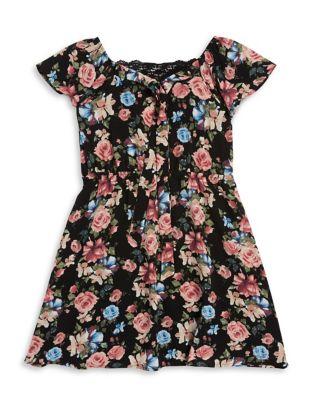 Girls Crochet Accented Floral Dress