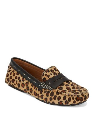 Patricia Leopard Calf Hair Driving Moccasins by G.H. Bass