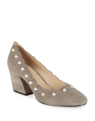 Holly Suede and Faux Pearl Pumps by Botkier New York