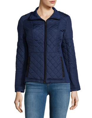 Plus Faux-Suede Trimmed Quilted Jacket 500087325027
