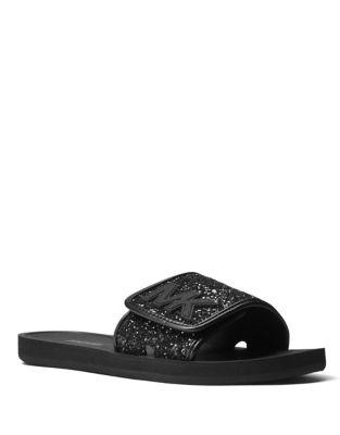 Logo Glittered Slide Sandals by MICHAEL MICHAEL KORS