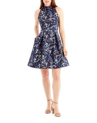 Jacquard Fit-and-Flare Dress by Belle Badgley Mischka