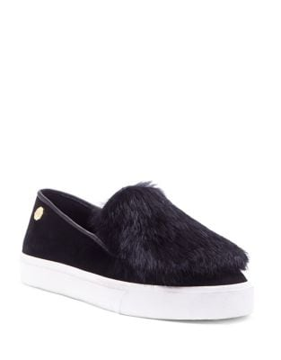 Fur-Trimmed Slip-On Sneakers by Louise et Cie
