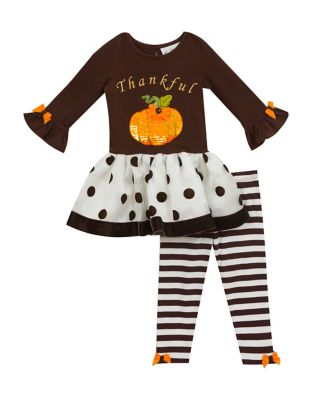 Baby Girls TwoPiece Pumpkin Top and Striped Leggings Set