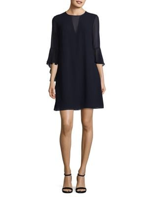 Illusion V-Neck Bell Sleeves Mini Dress by Vince Camuto