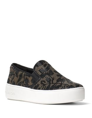Trent Embellished Suede Slip-on Sneakers by MICHAEL MICHAEL KORS