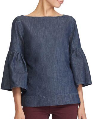 Boatneck Bell-Sleeve Denim Top -  Lauren Ralph Lauren