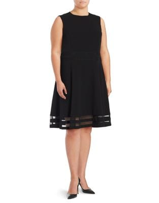 Plus Sleeveless Fit-and-Flare Dress by Calvin Klein