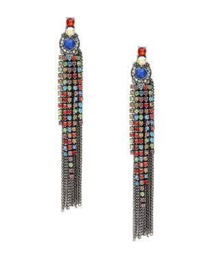 Embellished Chain-Accented Tassel Earrings 500087333832