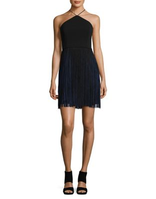 Two-Tone Fringe Mini Dress by Aidan Aidan Mattox