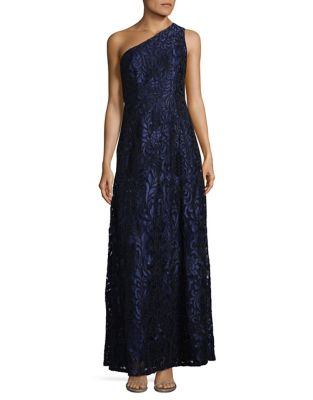 Embroidered One-Shoulder Column Gown by Aidan Aidan Mattox