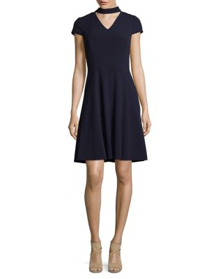 V-Neck Choker Knee-Length Dress by Tahari Arthur S. Levine