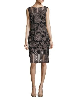 Embroidered Sheer Knee-Length Dress by Tadashi Shoji