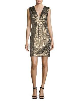 Pearl Sleeveless Geometric Sequin Mini Dress by Tadashi Shoji