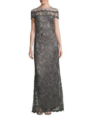 Sequin Lace Floor-Length Dress by Tadashi Shoji