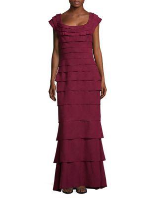 Tiered Floor-Length Dress by Tadashi Shoji