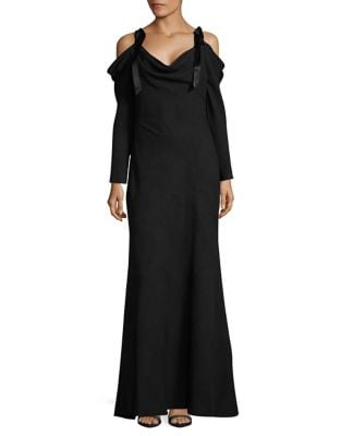 Cold-shoulder Floor-Length Dress by Tadashi Shoji