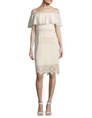 Off-The-Shoulder Lace Dress by Tadashi Shoji