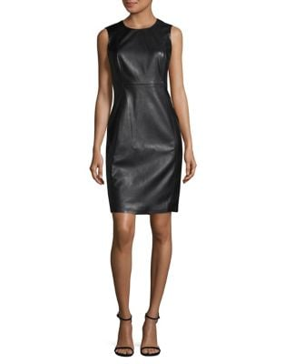 Faux Leather Sheath Dress by Calvin Klein