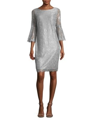 Bell Sleeve Lace Dress by Calvin Klein