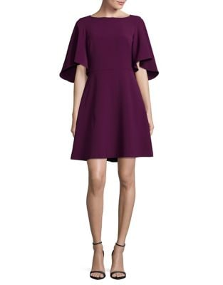 Bell-Sleeve Fit-and-Flare Dress by Belle Badgley Mischka