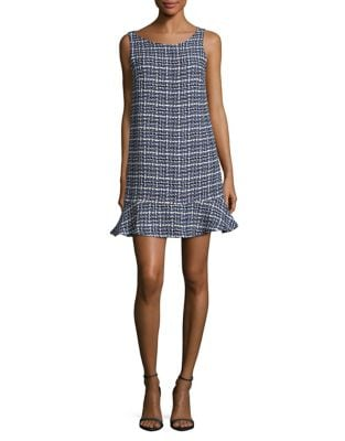 Houndstooth Print Shift Dress by Paper Crown