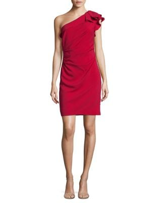 Ruffled One-Shoulder Dress by Carmen Marc Valvo Infusion