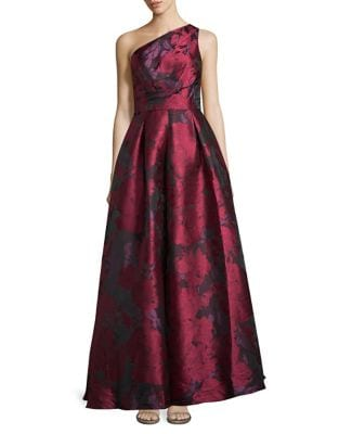 One-Shoulder Floral Print Gown by Carmen Marc Valvo Infusion