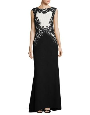 Embroidered Contrast Floor-Length Gown by Tadashi Shoji