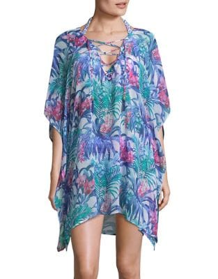 Floral Lace-Up Tunic...
