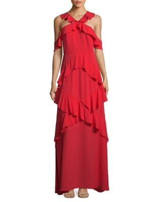 Ruffled Crisscross Maxi Dress by BCBGMAXAZRIA