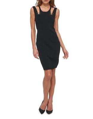 Sleeveless Hardware Sheath Dress by Guess