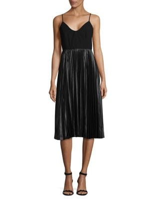 Midi A-Line Pleated Dress by H Halston