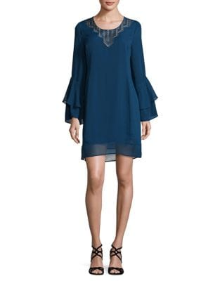 Mixed Media Bell Sleeve Dress by Laundry by Shelli Segal