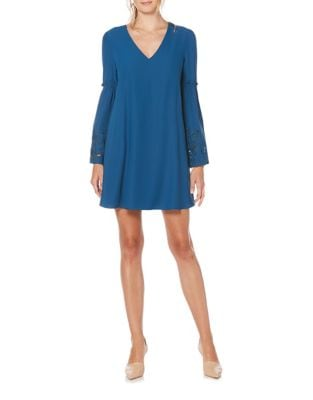 Sleeve Embroidery A-Line Dress by Laundry by Shelli Segal