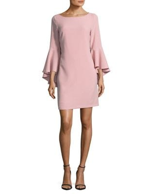 Bell Sleeve Crepe Shift Dress by Eliza J