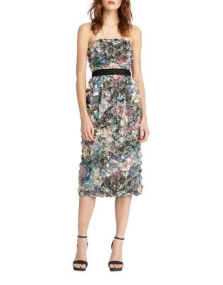 Patterned Belted Dress by ML Monique Lhuillier