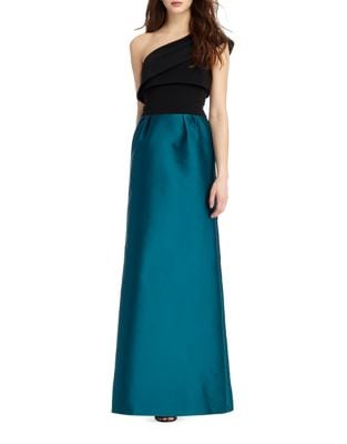 One-Shoulder Crepe Gown...