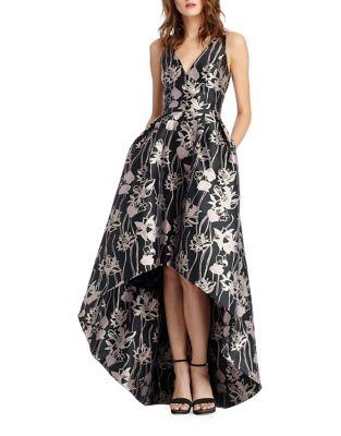 V-Neck Jacquard Hi-Lo Dress by ML Monique Lhuillier