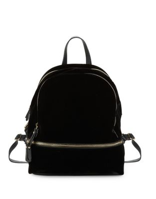 Faux Zippered Velvet Backpack 500087351362