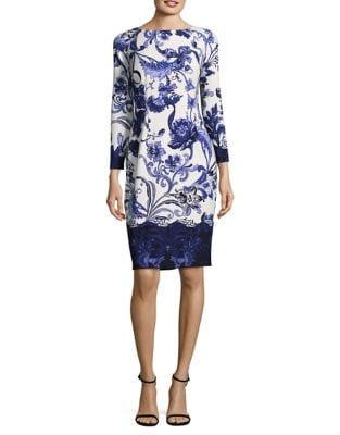 Floral Long Sleeve Sheath Dress by Eliza J