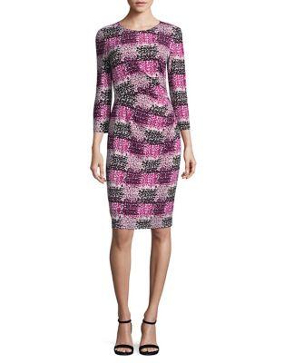 Blurred Plaid Sheath Dress by Eliza J