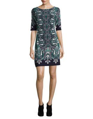 Paisley Boatneck Shift Dress by Eliza J