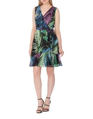Palm Print Wrap Dress by Tahari Arthur S. Levine