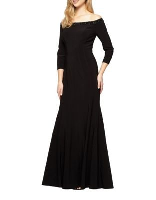 Off-the-Shoulder Fit-&-Flare Gown by Alex Evenings