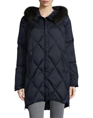 Rosalia Raccoon Fur-Trimmed Quilted Coat 500087354412