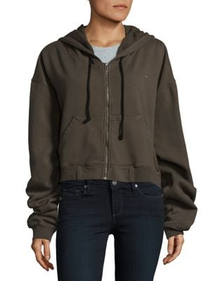 Zippered Cropped Cotton Hoodie 500087354564