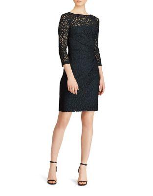 Petite Long-Sleeve Lace Sheath Dress by Lauren Ralph Lauren